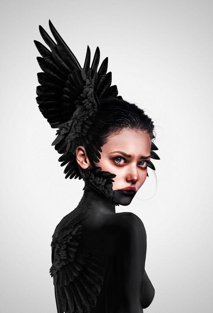 Laura H Rubin digital black feather painting