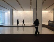 Working on a White Marble Lobby on the Avenue of Americas