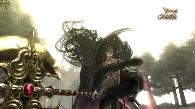 Bayonetta doing her hair thing