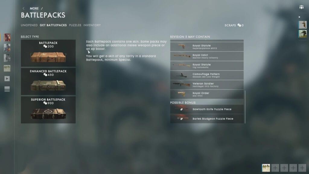 Battlefield 1 Battlepacks tiers