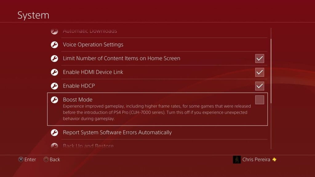PS4 boost mode options