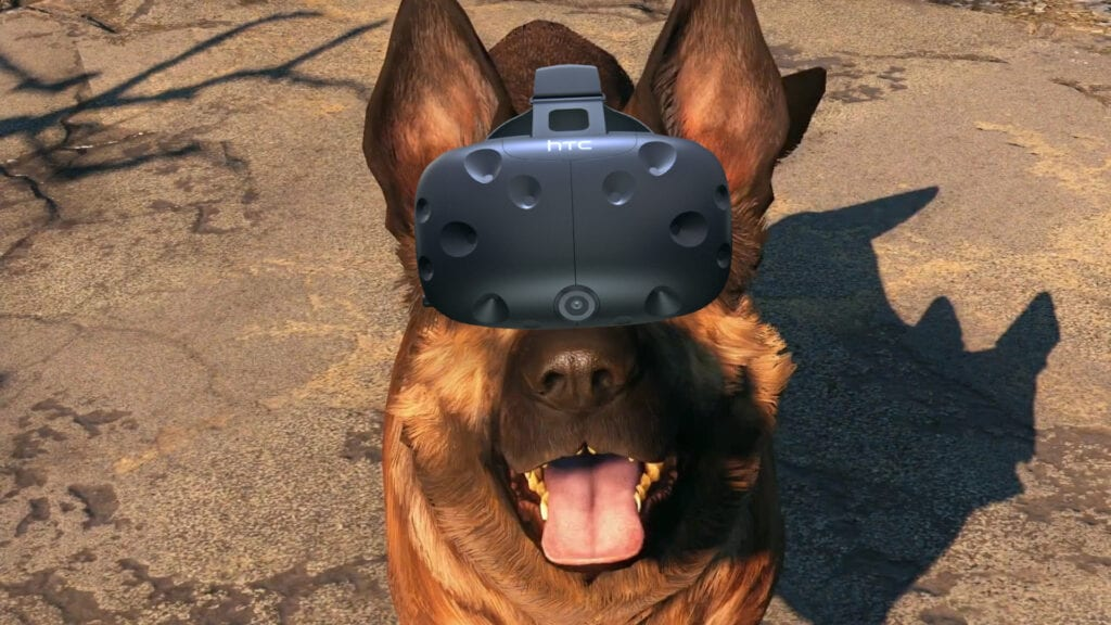 dogmeat wearing htc vive fallout 4 vr