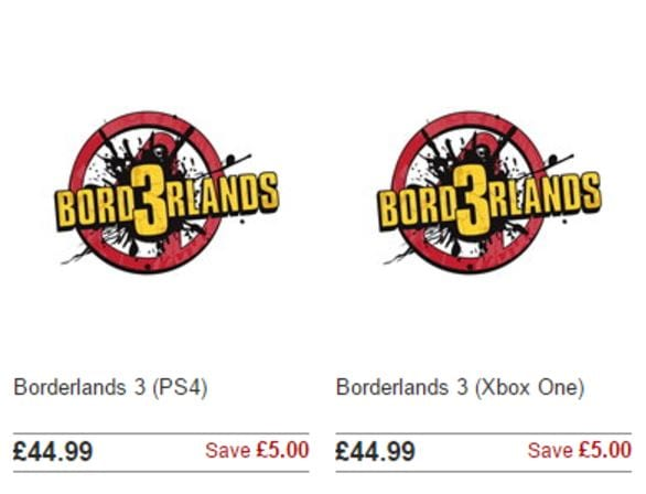 Borderlands 3 retail listing