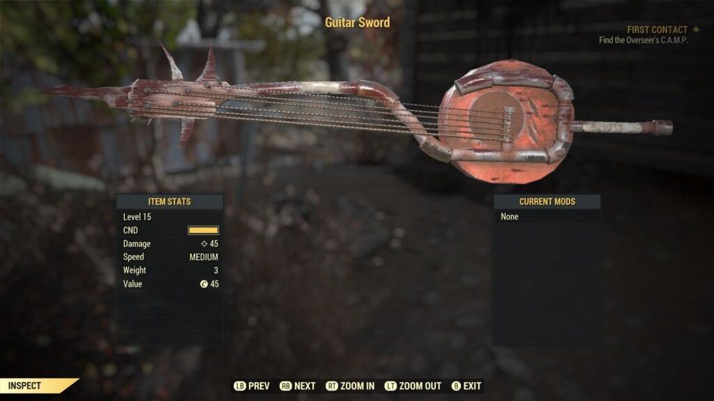 Fallout 76 Guitar Sword