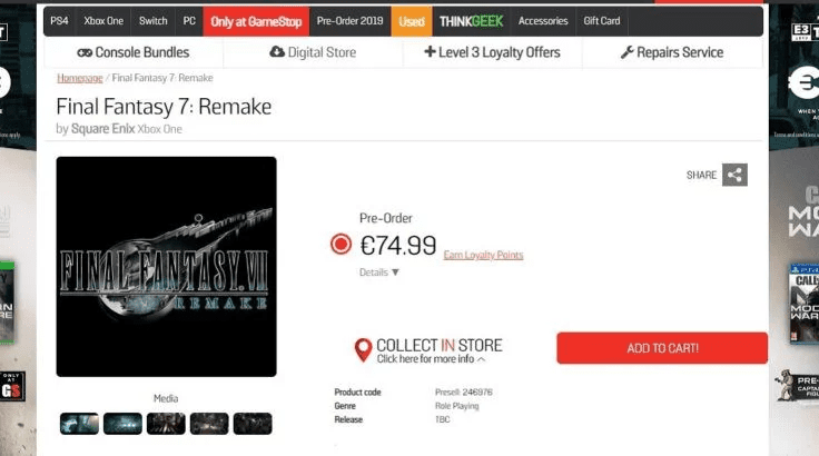 GameStop Leaks Final Fantasy VII Remake for Xbox One