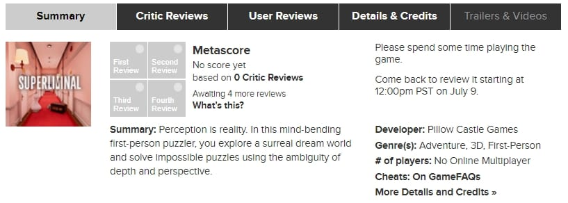 Metacritic user score review