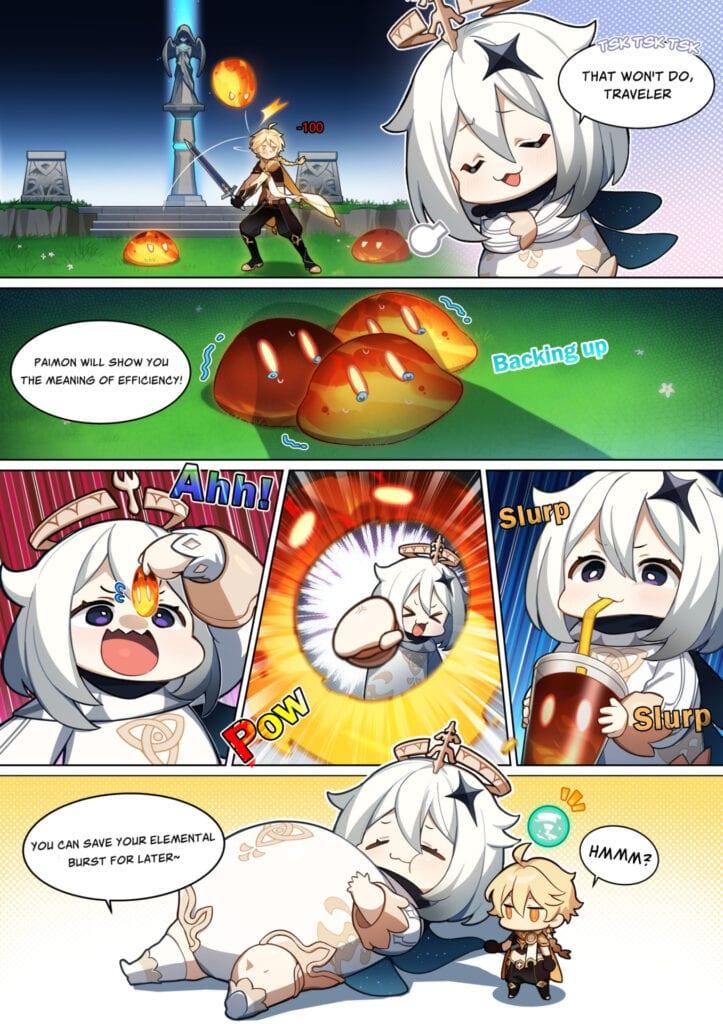 New Genshin Impact Comic Shows 'Emergency Food' Paimon Striking Back