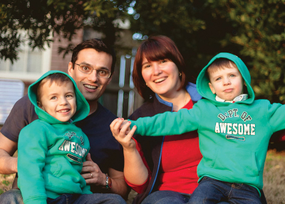 Ioana-Marius with their godchildren, dressed in matching 'dept of awesome' sweatshirts