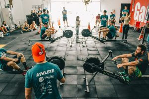 a group of people doing crossfit