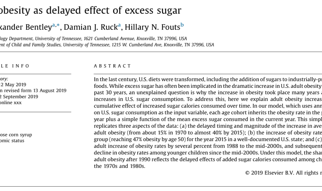 U.S. obesity as delayed effect of excess sugar