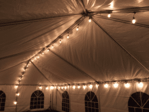 Elk Grove Party Tent with string lights