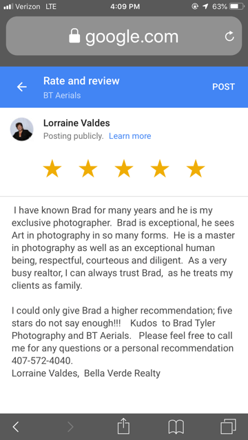 image of a google review from a realtor