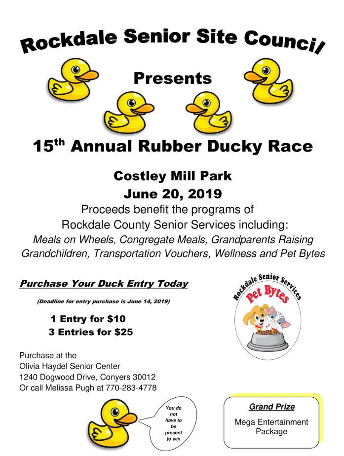 15th Annual Rubber Ducky Race presented by the Senior Site Council @ Costley Mill Park