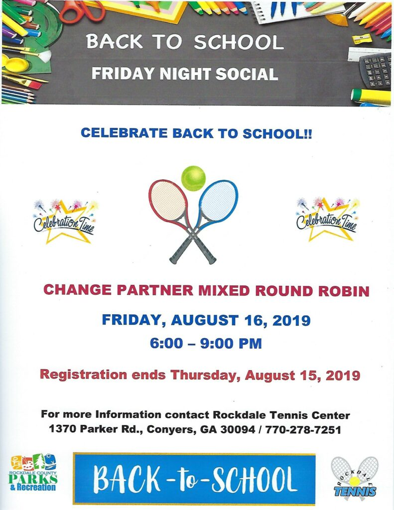 Back to School Tennis Social @ Rockdale Tennis Center