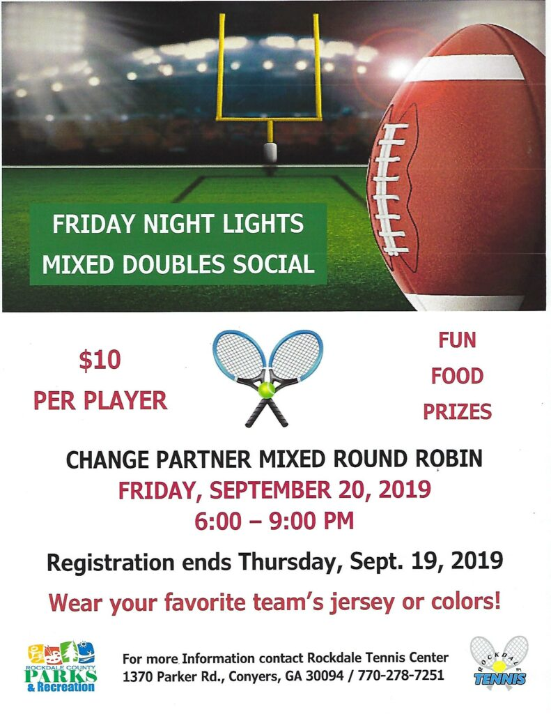 Friday Night Lights Social @ Rockdale Tennis Center