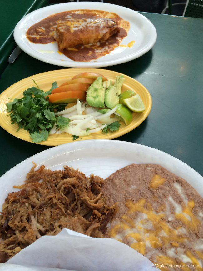 Pork carnitas and tamale at Old Town Mexican Cafe