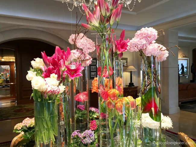 Lobby flowers at the Four Seasons Hotel Prague