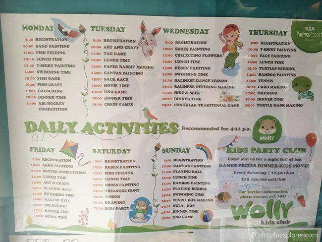 Example of daily activities at Padma Resort Legian, Bali
