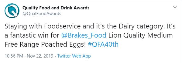 Brakes poached eggs win Quality Food and Drink Award 2019