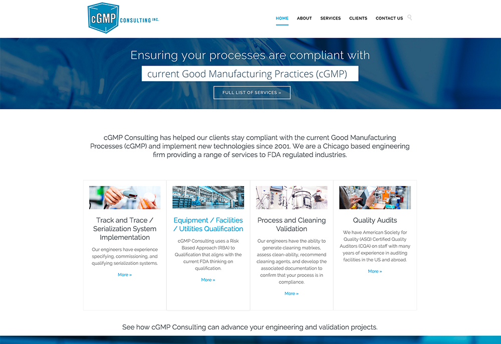 cGMP Consulting website