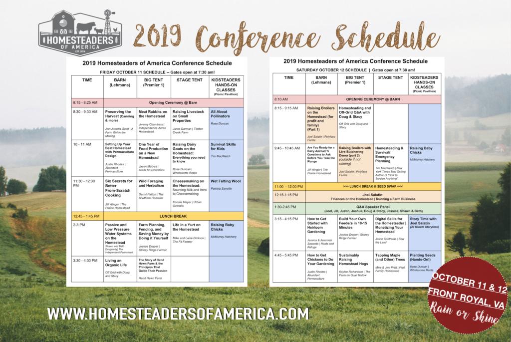 2019 Homesteaders of America conference program