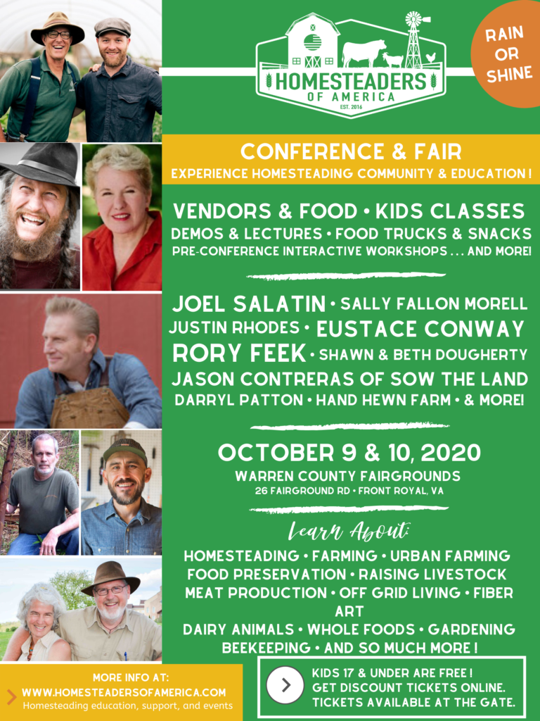 2020 Homesteaders of America conference flyer