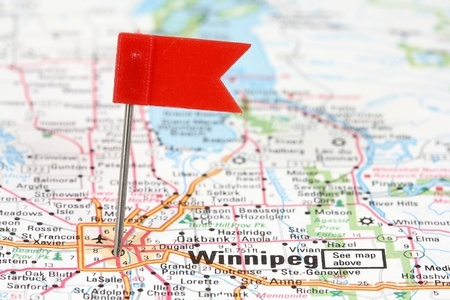 closeup of map of Winnipeg