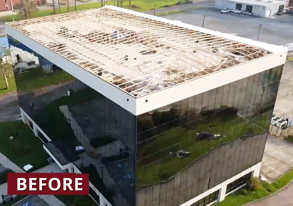WrapRoof team secures commercial property damaged by Hurricane Ida.