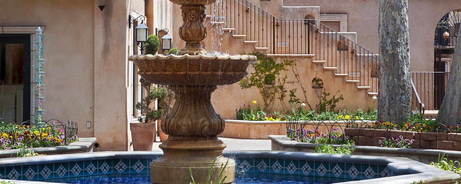 Fountain courtyard at Tlaquepaque artisan village in Sedona, Arizona