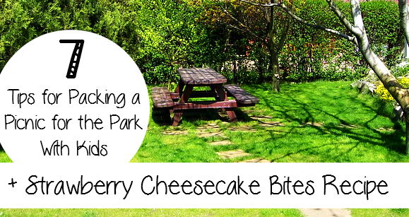 7 tips for Packing a Picnic at the Park with KIDS! + Strawberry Cheesecake Bites Recipe! - sixtimemommy.com