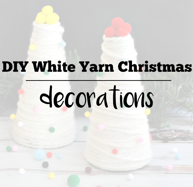 DIY White Yarn Christmas Tree Decorations
