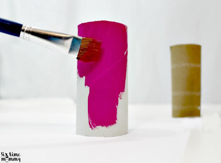 Paint the toilet paper tubes
