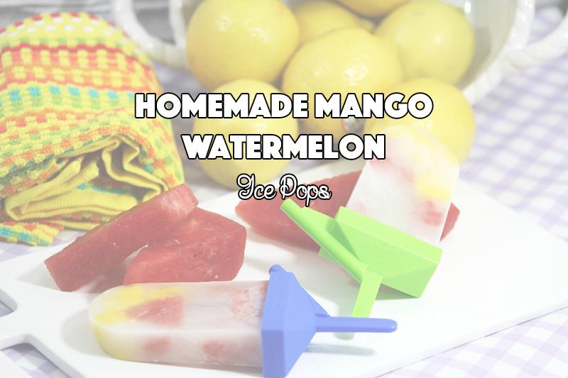 Homemade Mango Watermelon Ice Pops - sixtimemommy.com