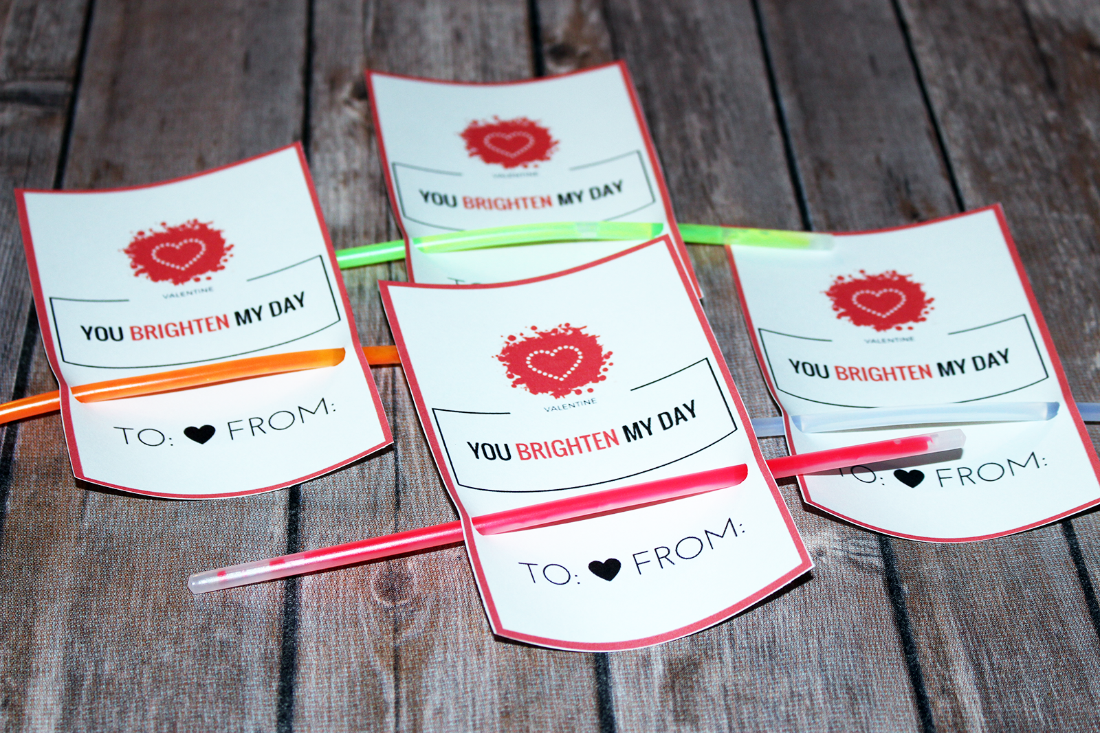 Homemade Valentine's Card For Kids – With Glow Sticks FREE Printable!