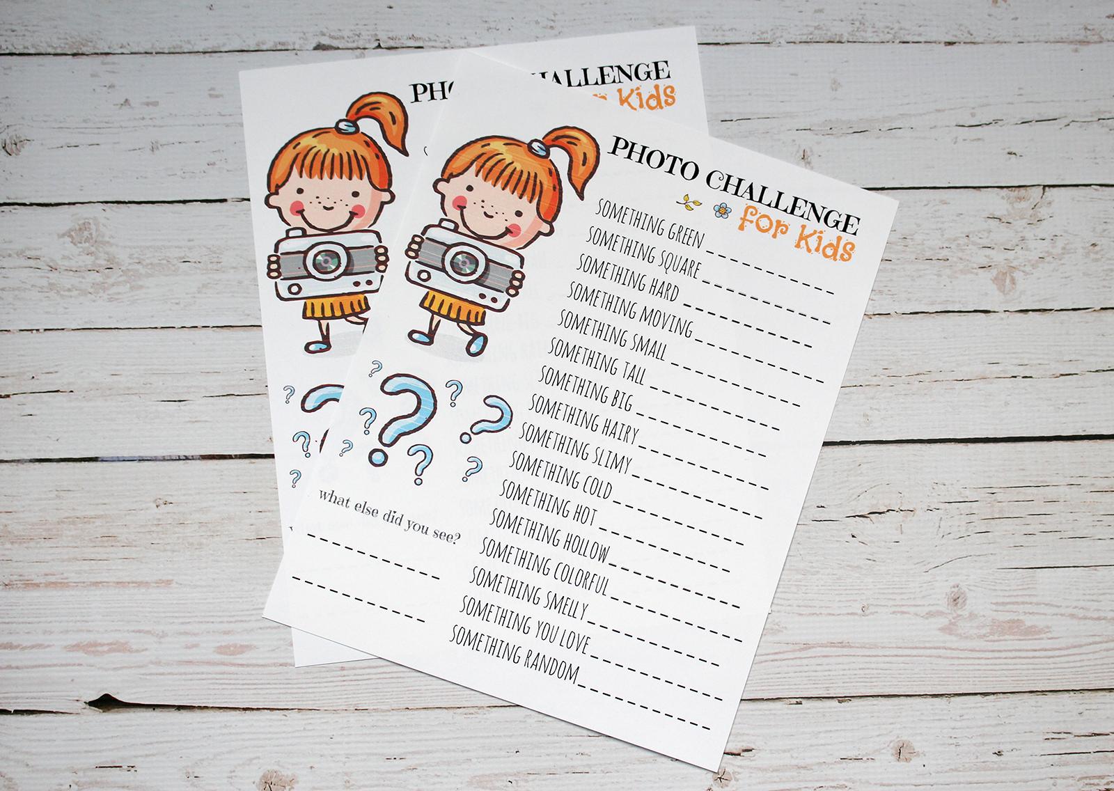 Free Photo Challenge Printable for Kids
