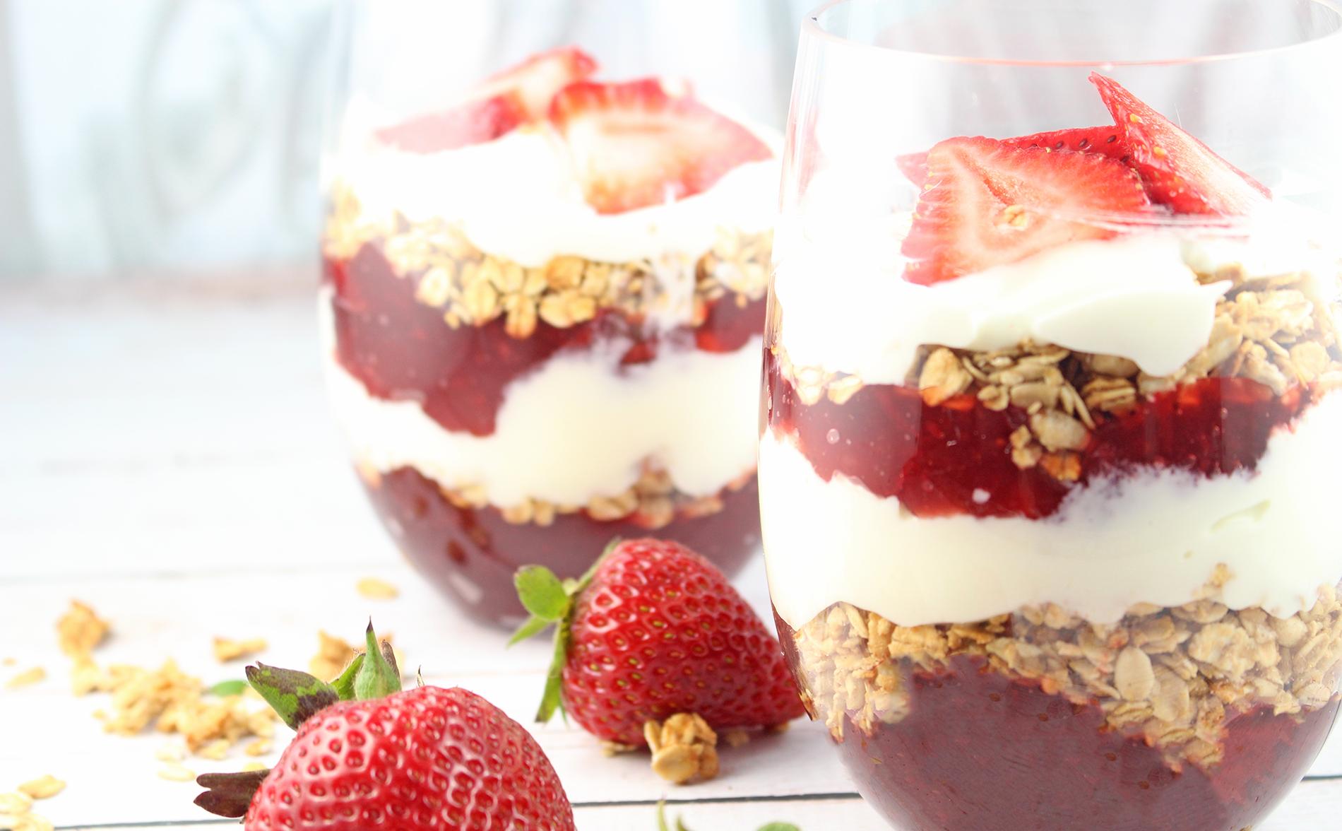 Strawberry and Lemon Cottage Cheese Dessert Cups #BornOnTheFarm