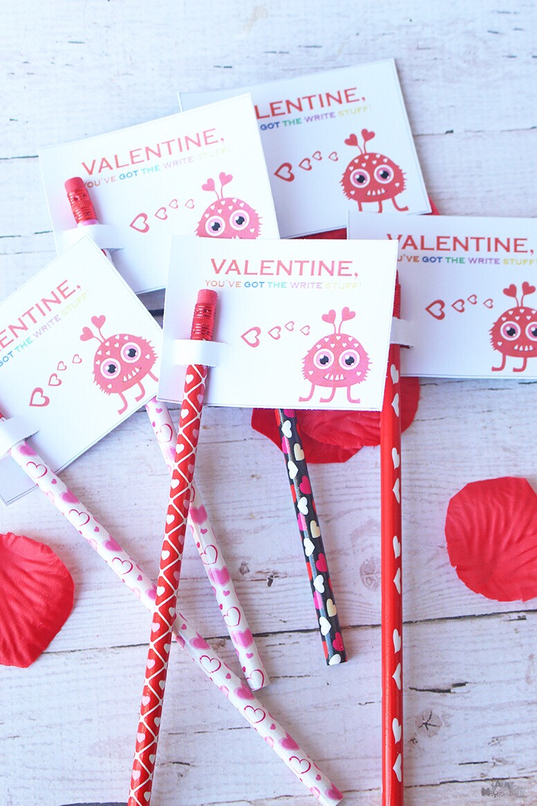 DIY Valentine's: Pencils Instead of Candy + FREE Printable!
