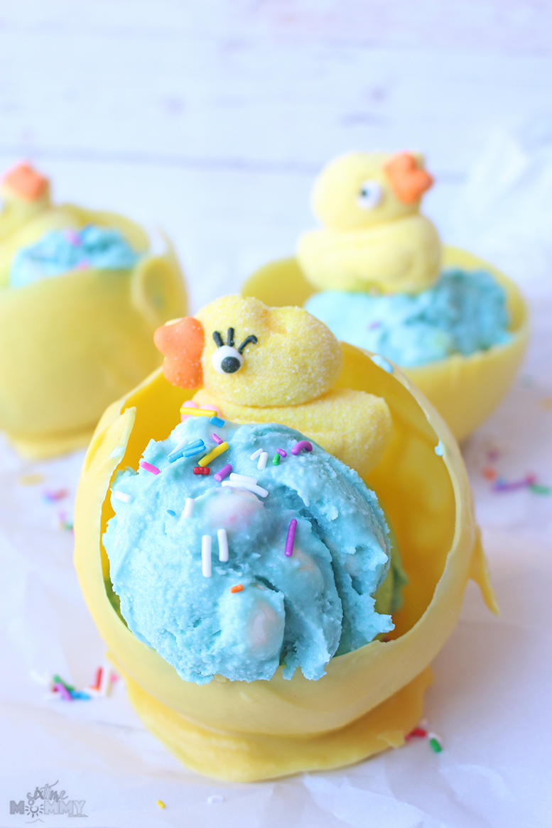 Kid-Friendly Easter Dessert: Homemade Bubblegum Egg Ice Cream With A Chocolate Nest Bowl