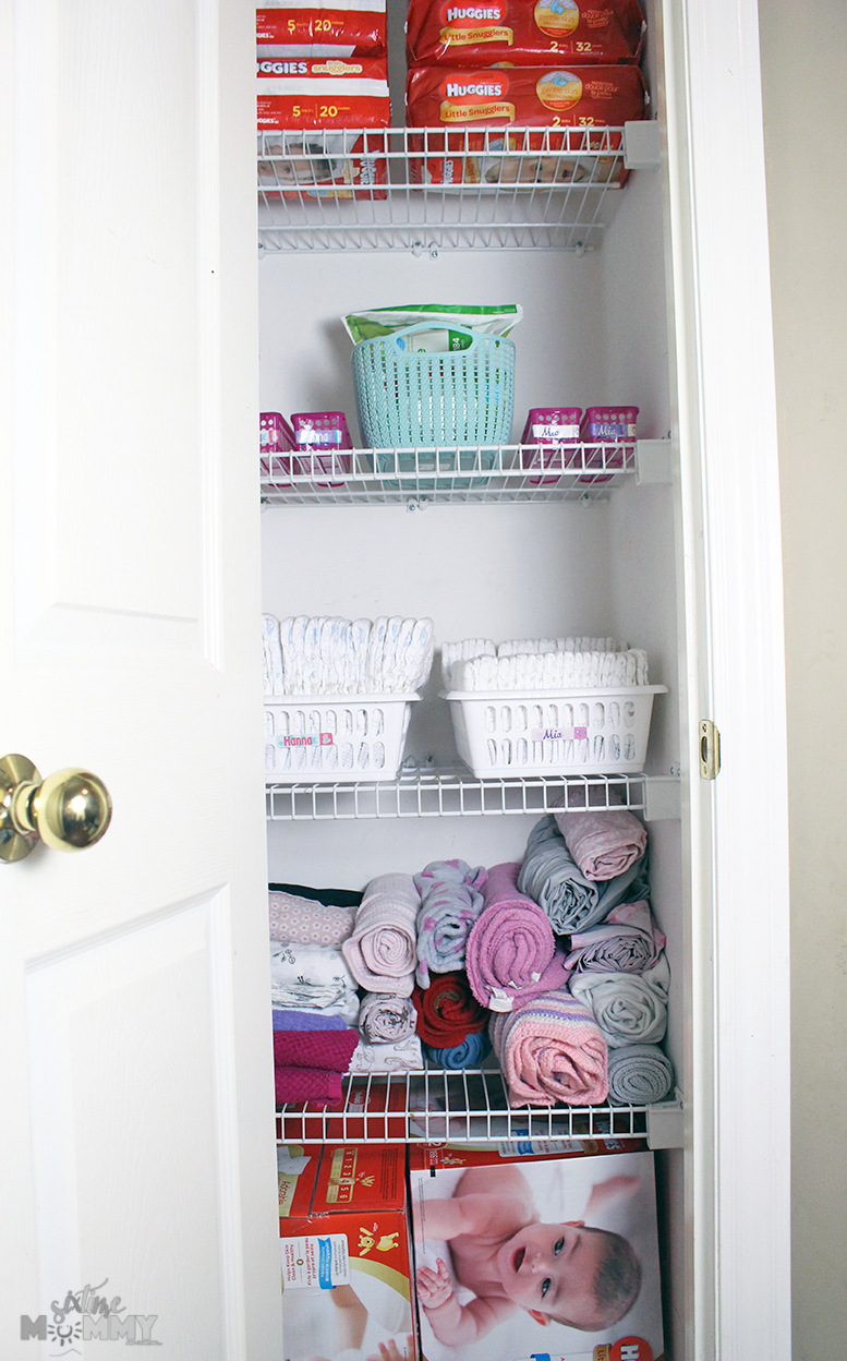 How I Organize Diapers & Accessories For 2 Baby Girls