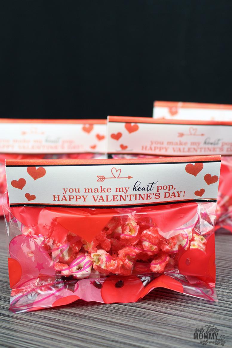Popcorn Treat Bag Valentine's Day Printable