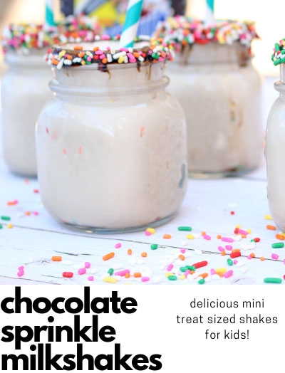mini treat sized chocolate milkshakes