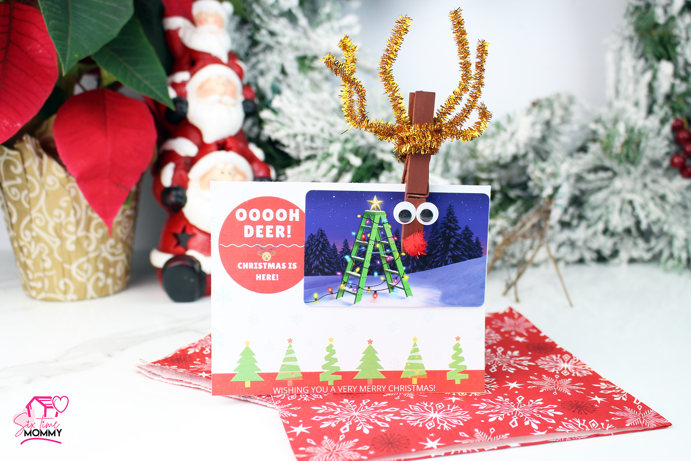DIY Personalized Gift: Reindeer Gift Card Clip + Printable Card