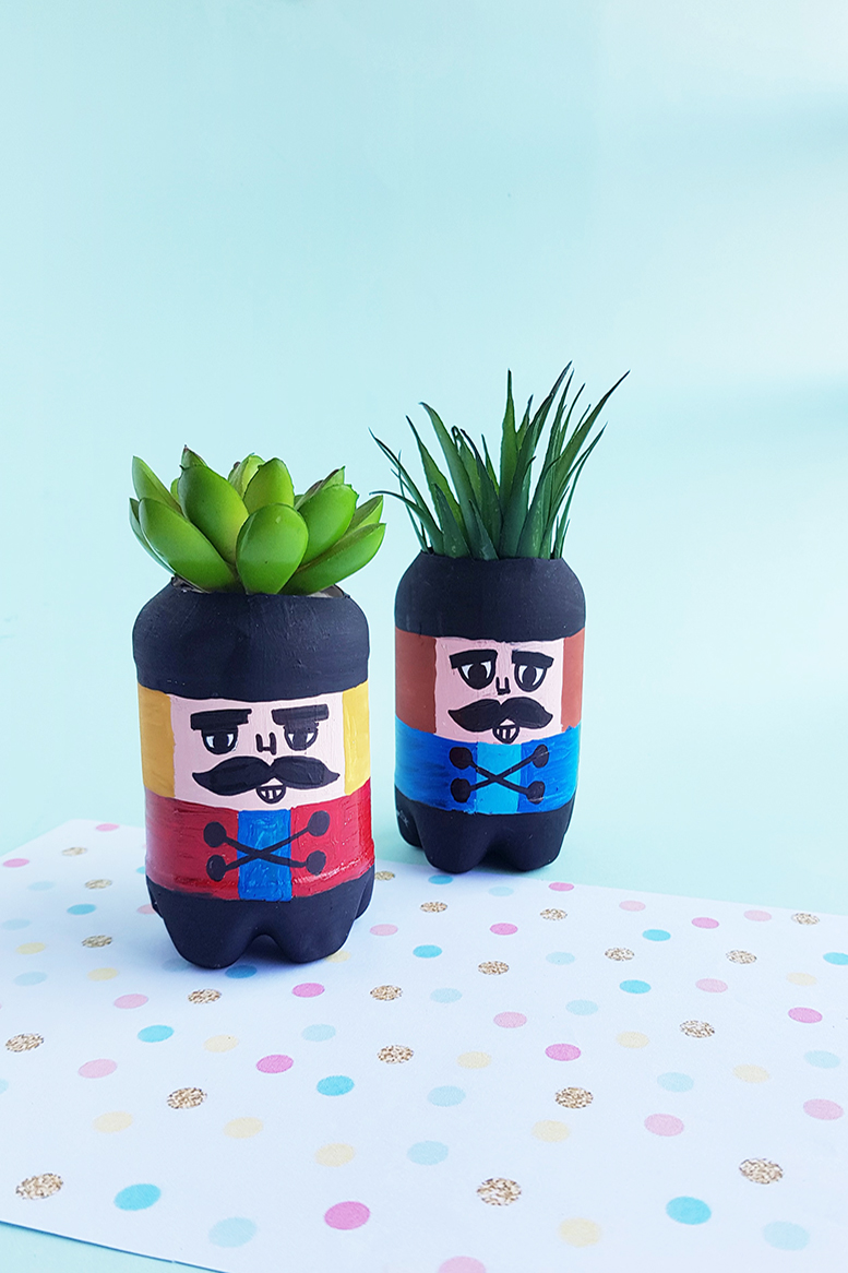 Homemade Mini Nutcracker Planters