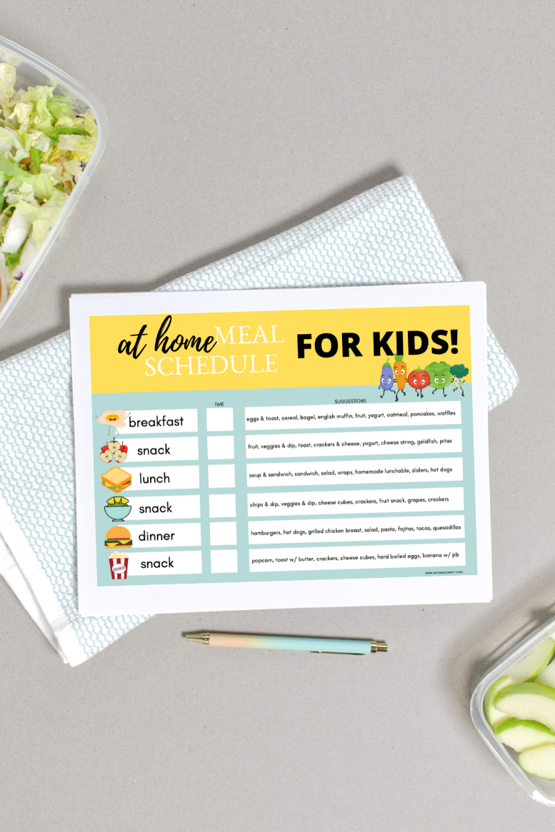 At Home Meal Schedule for Kids – Perfect For Self-Isolating/Social Distancing