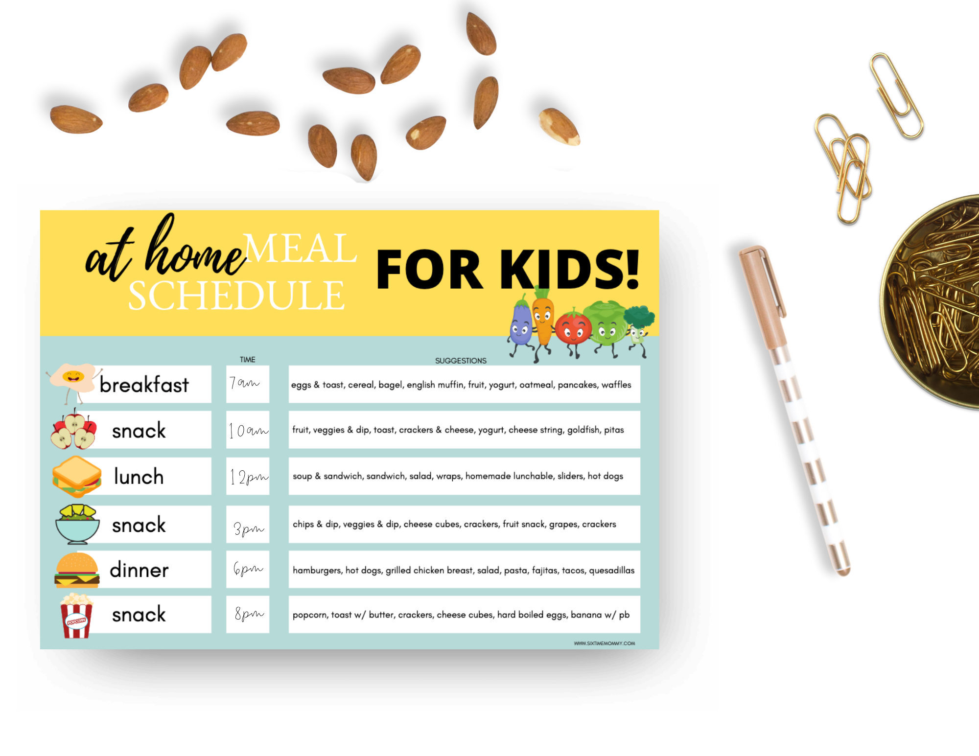 At Home Meal Schedule for Kids