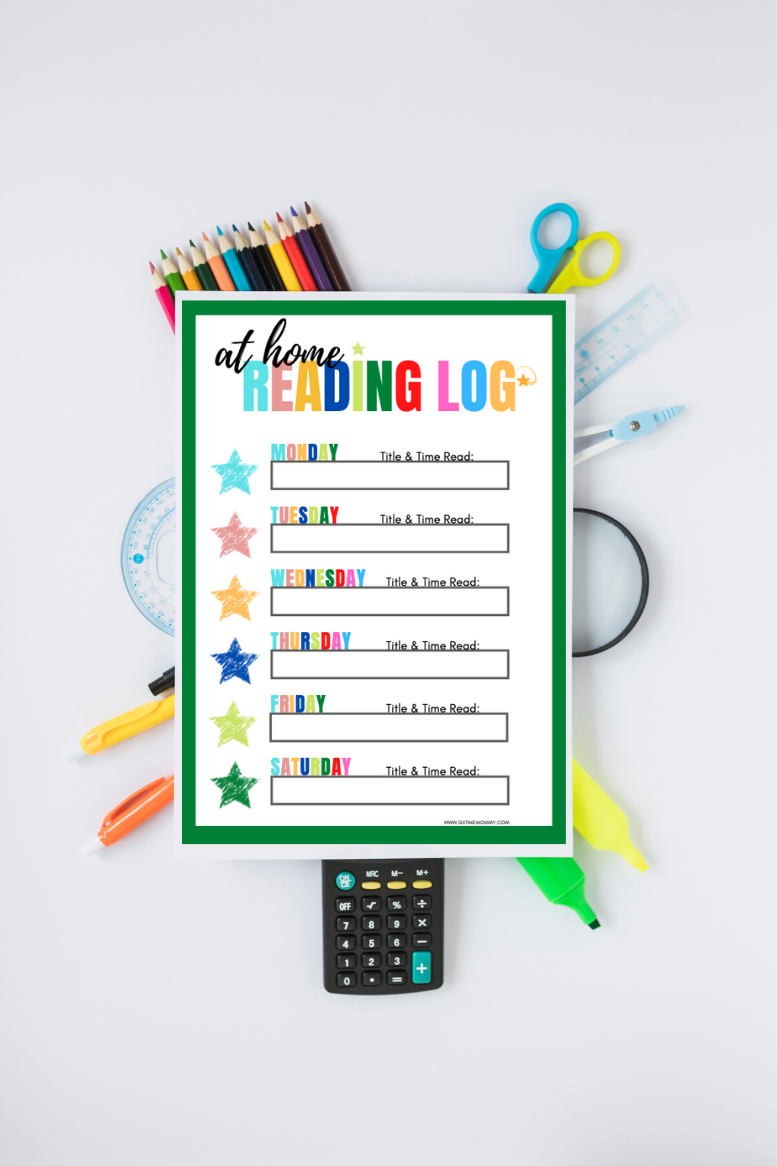 FREE At Home Reading Log Printable