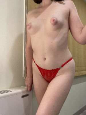 Mia's Cherry Red String Strap Thong