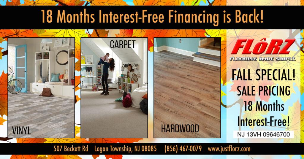 Carpet, Tile, Hardwood, Luxury Vinyl. Flooring South Jersey, Fall Flooring Special