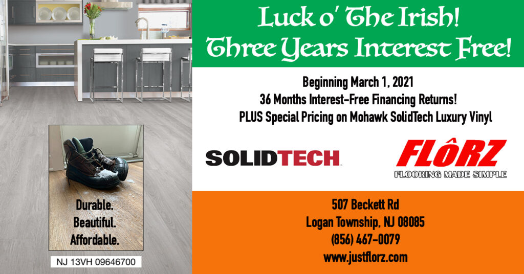 Luck of the Irish, Flooring Sale, Interest Free Financing, Flooring Delco, Flooring South Jersey