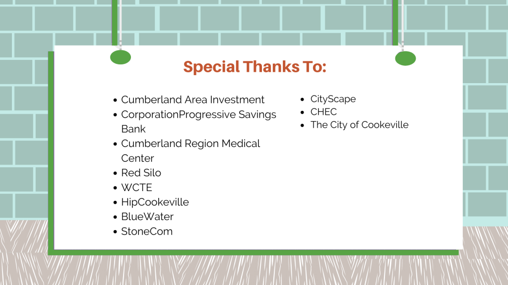 Graphic thanking sponsors for Made Here Market. Special thanks to Cumberland Area Investment CorporationProgressive Savings Bank Cumberland Region Medical Center Red Silo WCTE HipCookeville BlueWater StoneCom CityScape CHEC The City of Cookeville